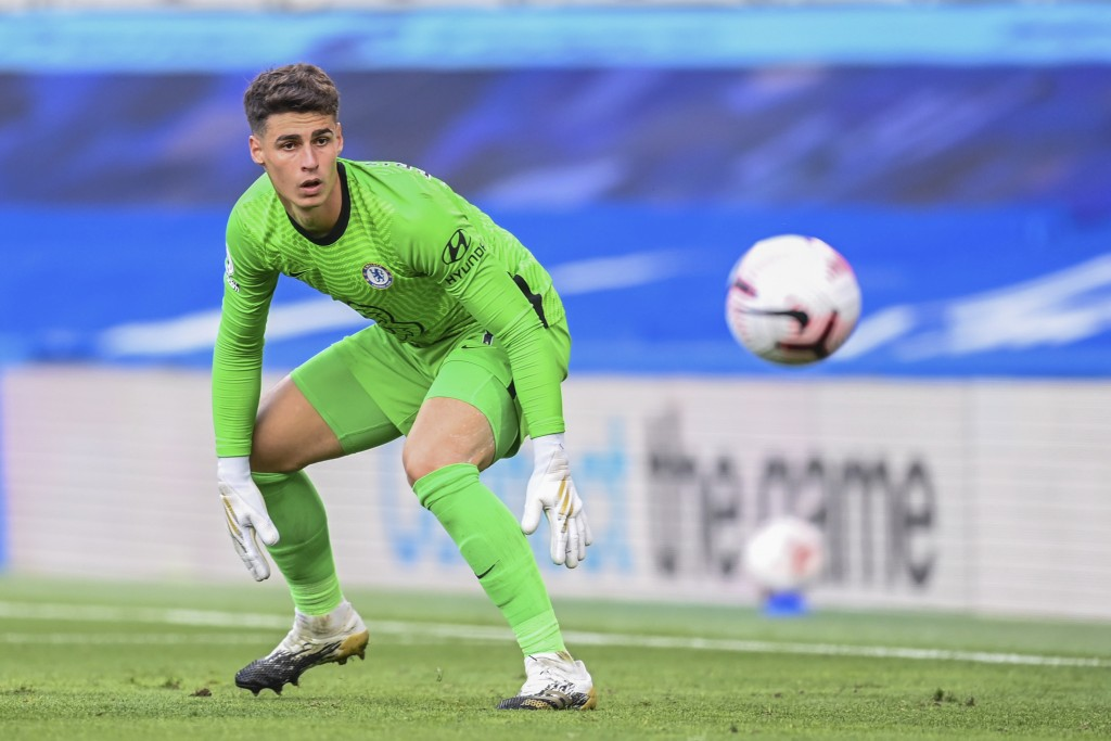 Chelsea's goalkeeper Kepa Arrizabalaga looks the ball during the English Premier League soccer match between Chelsea and Liverpool at Stamford Bridge ...