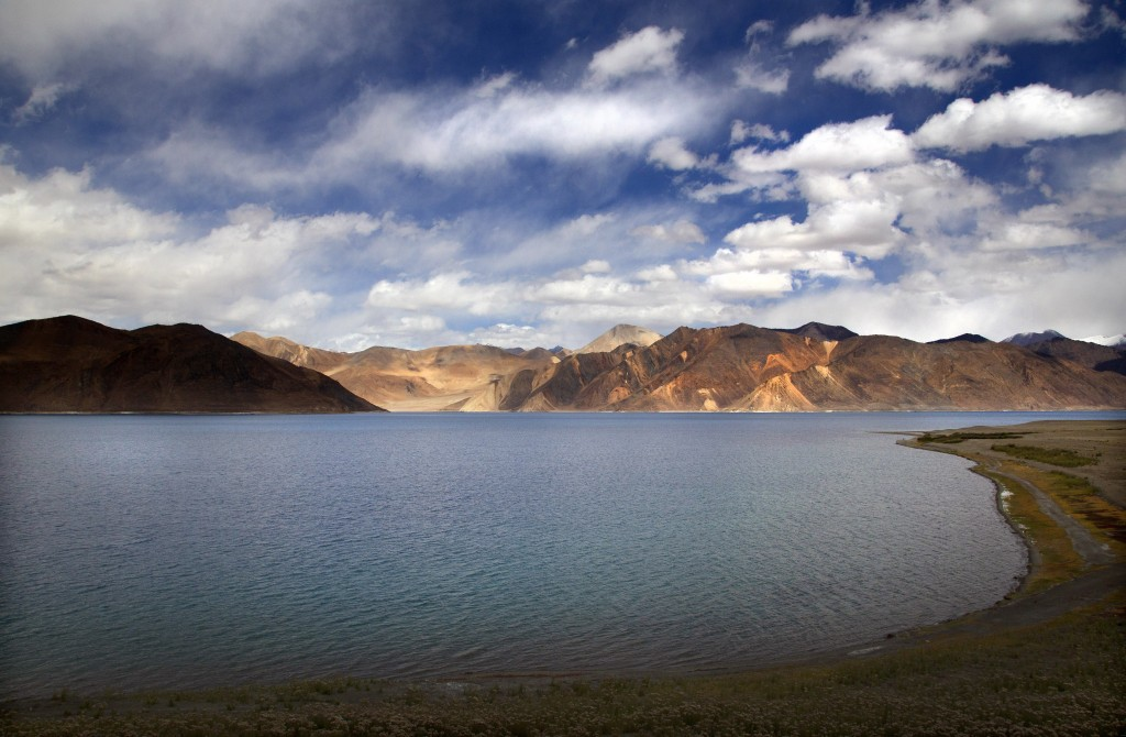 FILE- This Sept. 14, 2018 file photo shows Pangong Lake in Ladakh region, India. Senior Indian and Chinese military commanders are holding talks Monda...