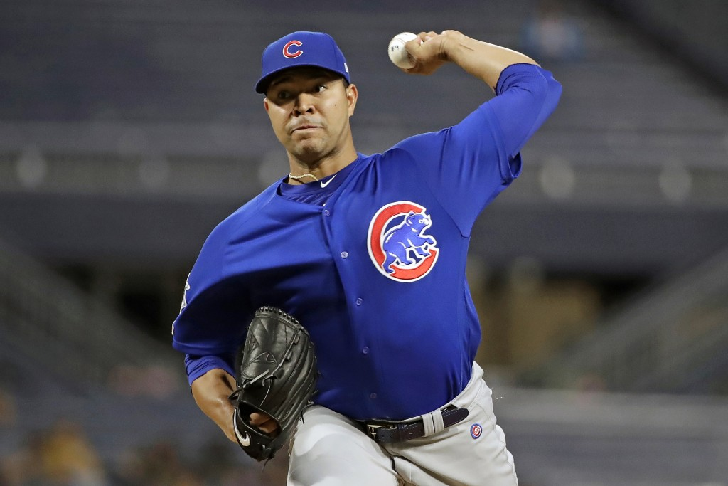 FILE - In this Thursday, Sept. 26, 2019, file photo, Chicago Cubs starting pitcher Jose Quintana delivers during the first inning of a baseball game a...
