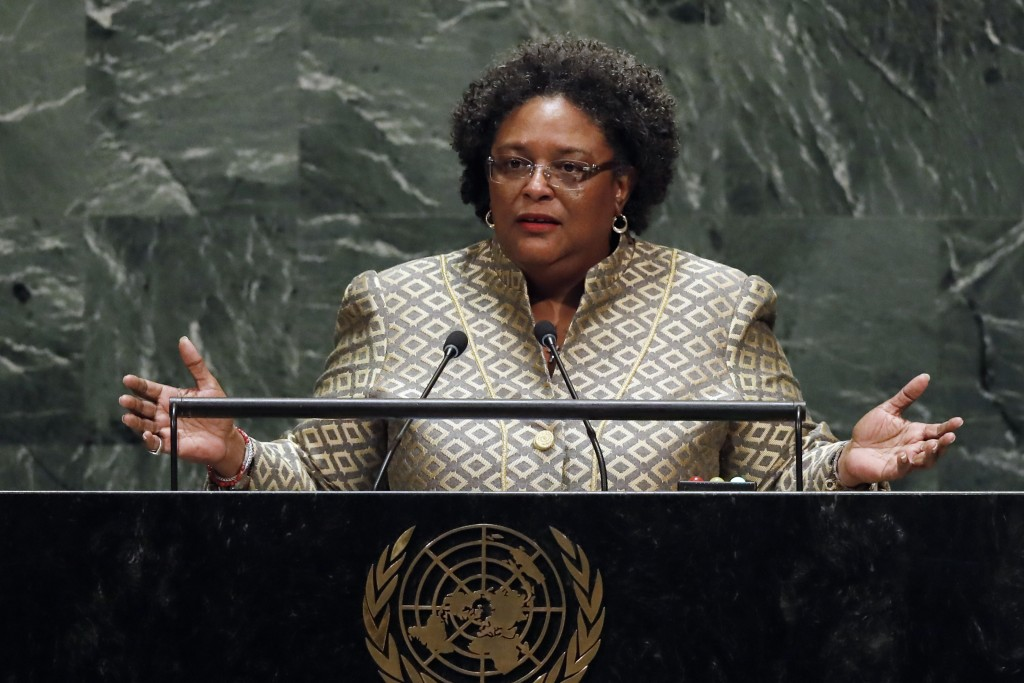 FILE - This Sept. 27, 2019, file photo shows Prime Minister Mia Amor Mottley, of Barbados, addressing the 74th session of the United Nations General A...