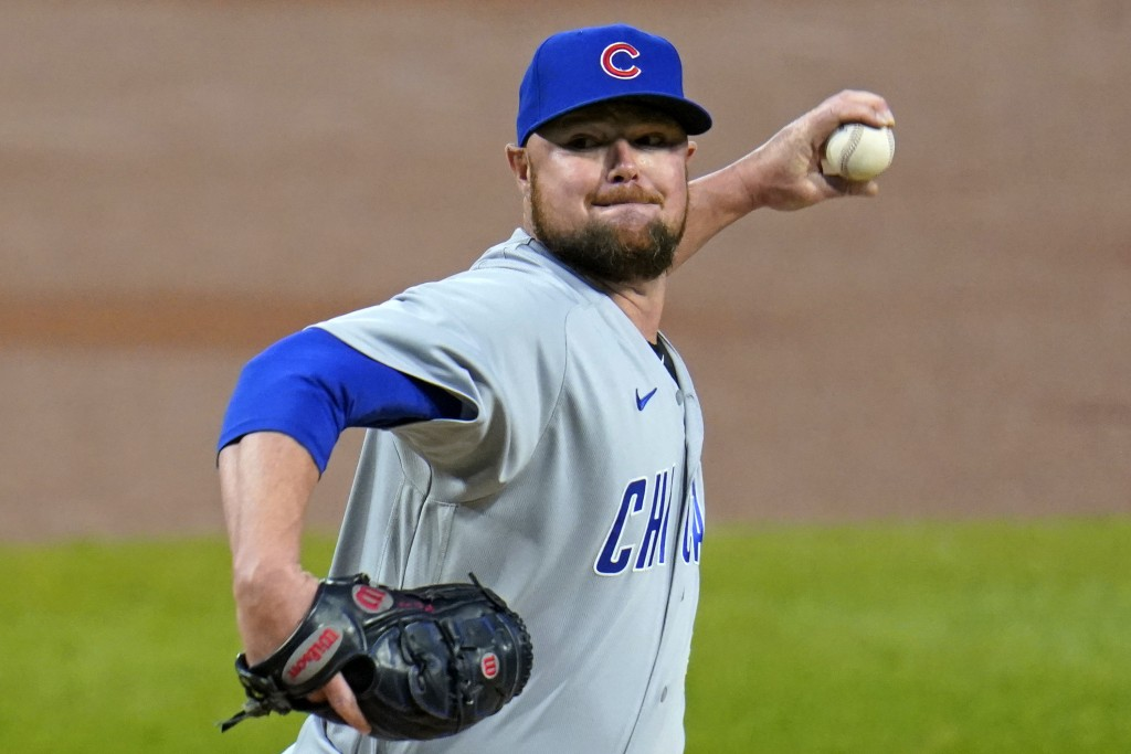 Chicago Cubs starting pitcher Jon Lester delivers during the first inning of a baseball game against the Pittsburgh Pirates in Pittsburgh, Monday, Sep...