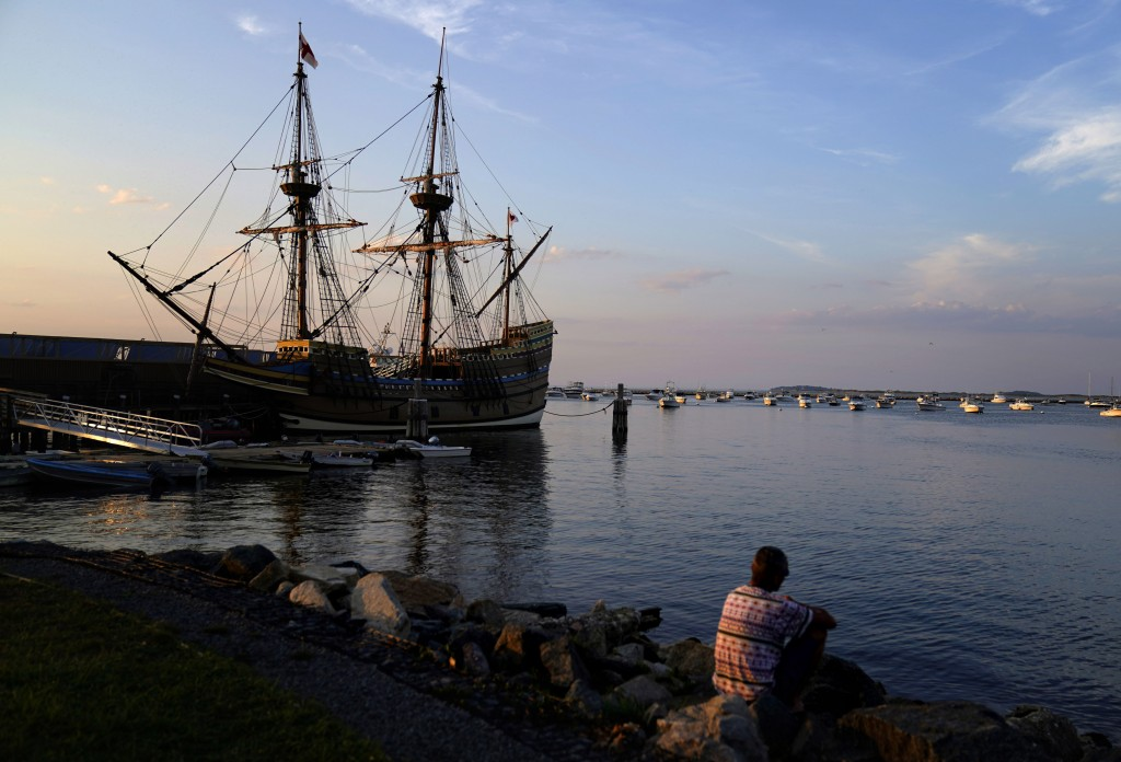 The Mayflower II, a replica of the original Mayflower ship that brought the Pilgrims to America 400 year ago, is docked in Plymouth, Mass., days after...