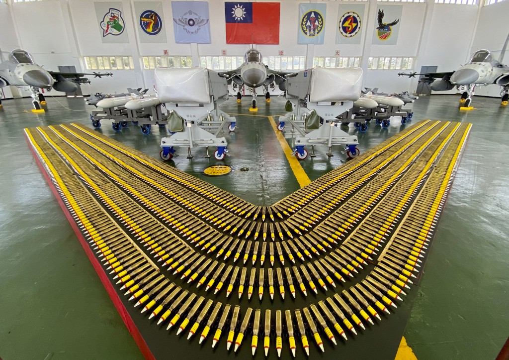 Taiwan's Indigenous Defense Fighter (IDF) jets are displayed with their weapons payload during a visit by Taiwan President Tsai Ing-wen at the Penghu ...