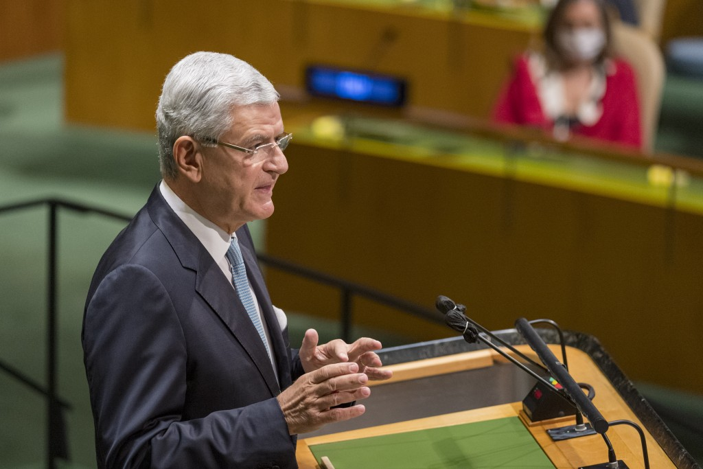 In this photo provided by the United Nations, Volkan Bozkir, president of the seventy-fifth session of the United Nations General Assembly, speaks, Tu...