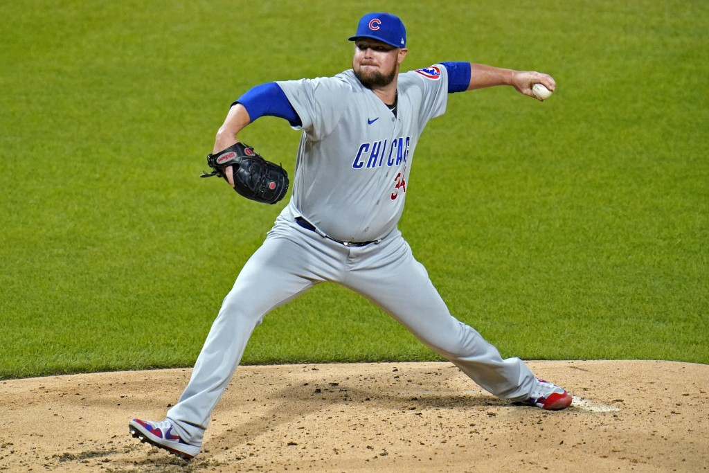 Chicago Cubs starting pitcher Jon Lester delivers during the third inning of a baseball game against the Pittsburgh Pirates in Pittsburgh, Monday, Sep...
