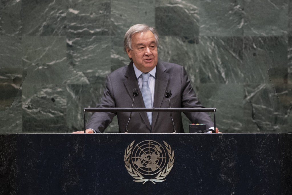 In this photo provided by the United Nations, Secretary-General António Guterres speaks during the 75th session of the United Nations General Assembly...