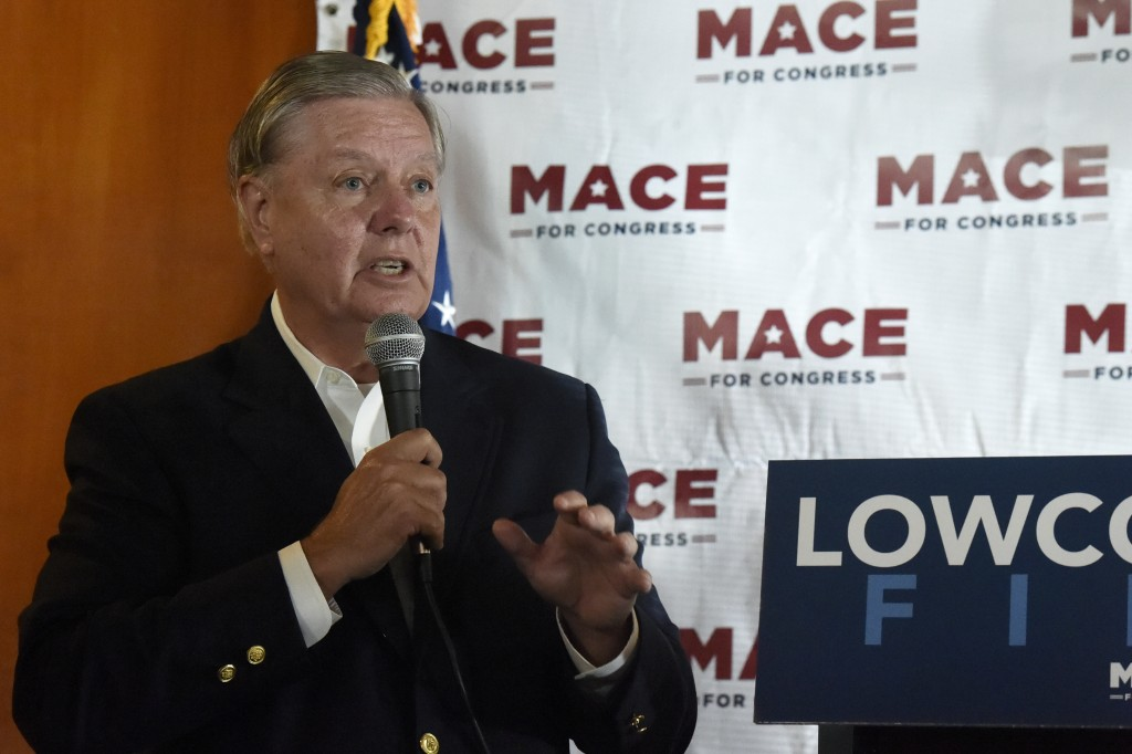 U.S. Sen. Lindsey Graham speaks at a campaign event for U.S. House candidate Nancy Mace on Monday, Sept. 21, 2020, in North Charleston, S.C. (AP Photo...