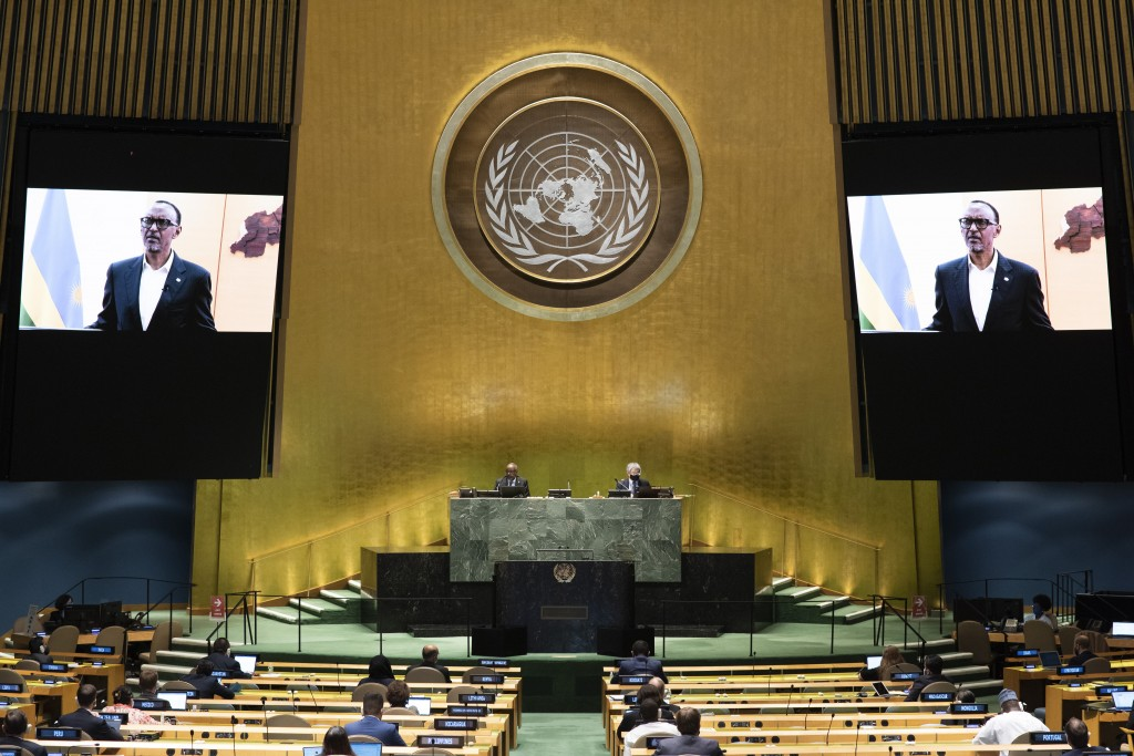 In this photo provided by the United Nations, Rwanda President Paul Kagame's pre-recorded message is played during the 75th session of the United Nati...