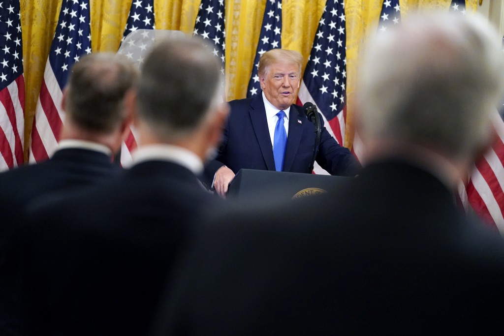 President Donald Trump speaks during an event to honor Bay of Pigs veterans, in the East Room of the White House, Wednesday, Sept. 23, 2020, in Washin...