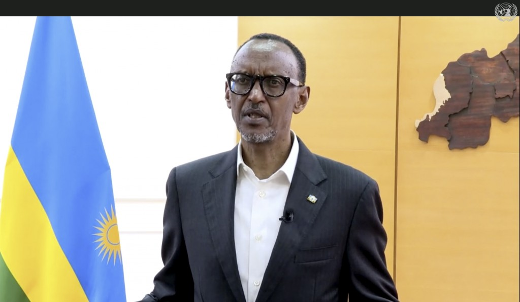 In this image made from UNTV video, Paul Kagame, President of Rwanda, speaks in a pre-recorded message which was played during the 75th session of the...