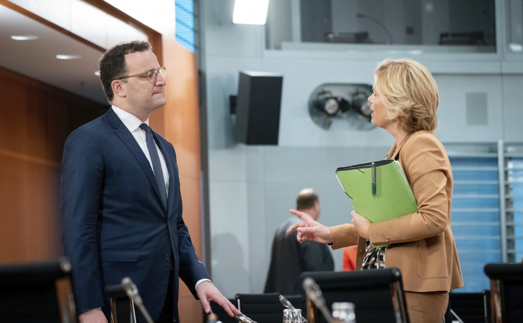 Jens Spahn, Federal Minister of Health, and Julia Kloeckner, Federal Minister of Food and Agriculture, take part in the meeting of the Federal Cabinet...