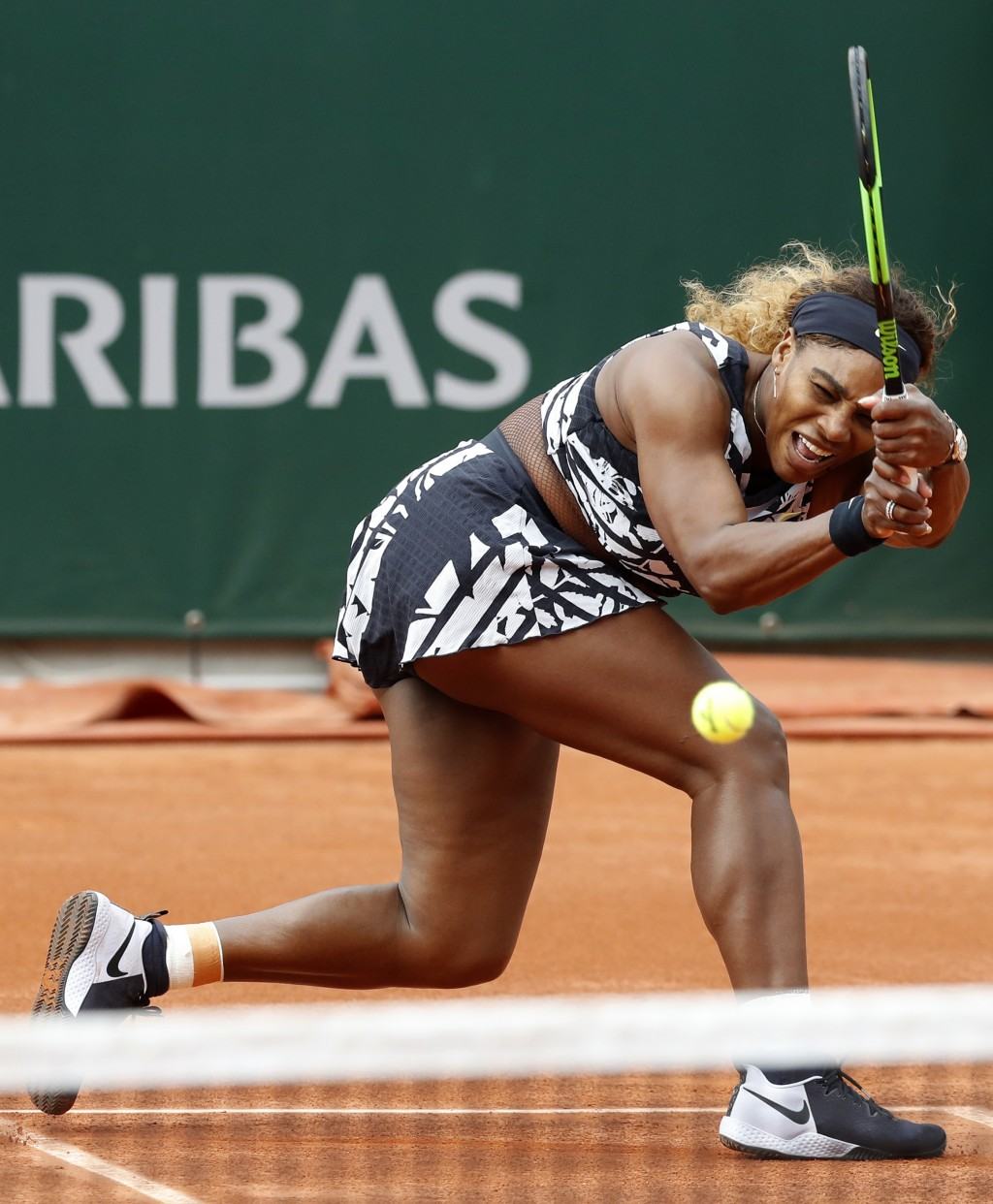 FILE - In this May 27, 2019, file photo, Serena Williams plays a shot against Vitalia Diatchenko of Russia during their first round match of the Frenc...