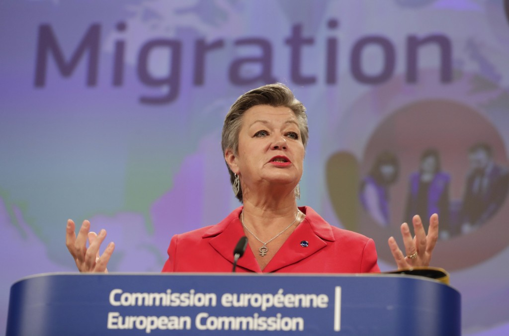 European Commissioner for Home Affairs Ylva Johansson, speaks during a media conference on the New Pact for Migration and Asylum at EU headquarters in...