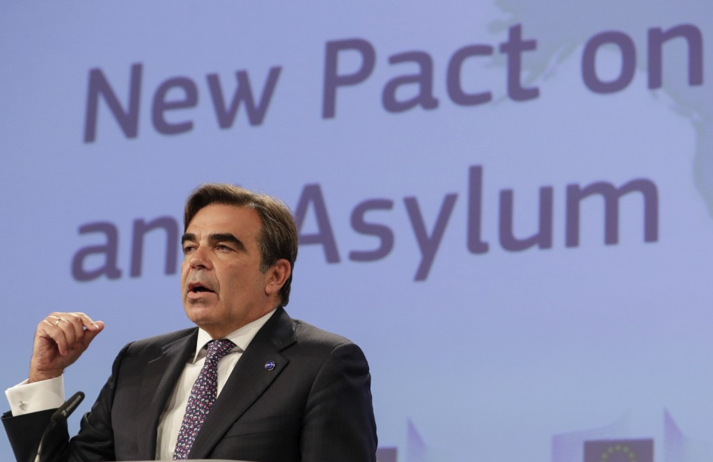 European Commissioner for Promoting our European Way of Life Margaritas Schinas, speaks during a media conference on the New Pact for Migration and As...