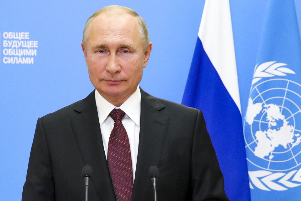 In this handout photo released by Russian Presidential Press Service via Sputnik, Russian President makes a televised address at the 75th session of U...