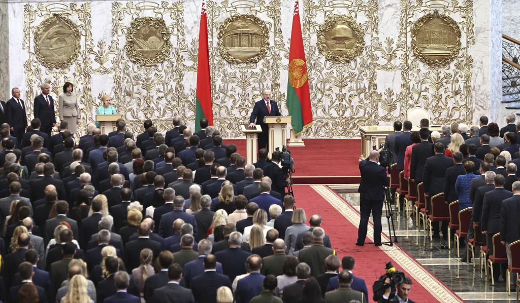 Belarusian President Alexander Lukashenko takes his oath of office during his inauguration ceremony at the Palace of the Independence in Minsk, Belaru...