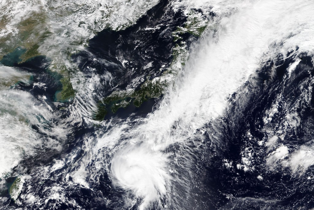 This Tuesday, Sept. 22, 2020, satellite image released by NASA Worldview, Earth Observing System Data and Information System (EOSDIS) shows Tropical S...