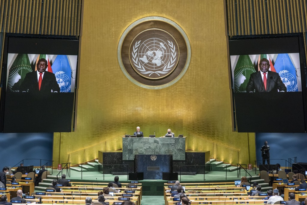 In this photo provided by the United Nations, South African President Cyril Ramaphosa speaks in a pre-recorded message played during the 75th session ...