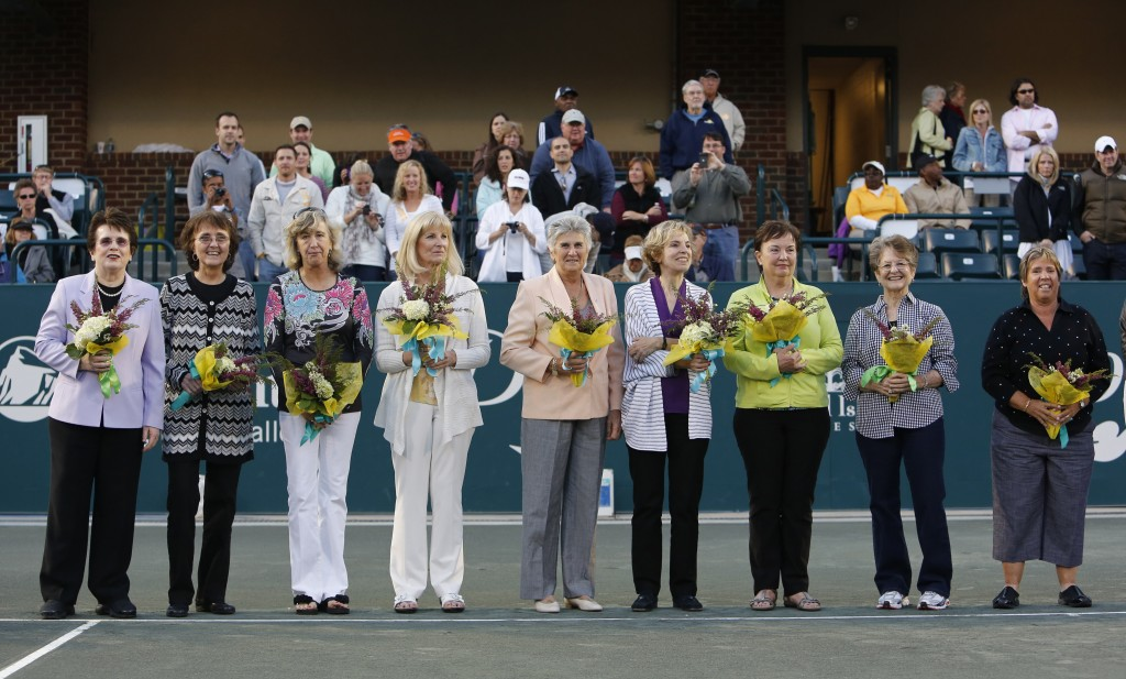 FILE - In this April 7, 2012, file photo, members of the original nine women, from left to right, Billie Jean King, Peaches Bartkowicz, Kristy Pigeon,...