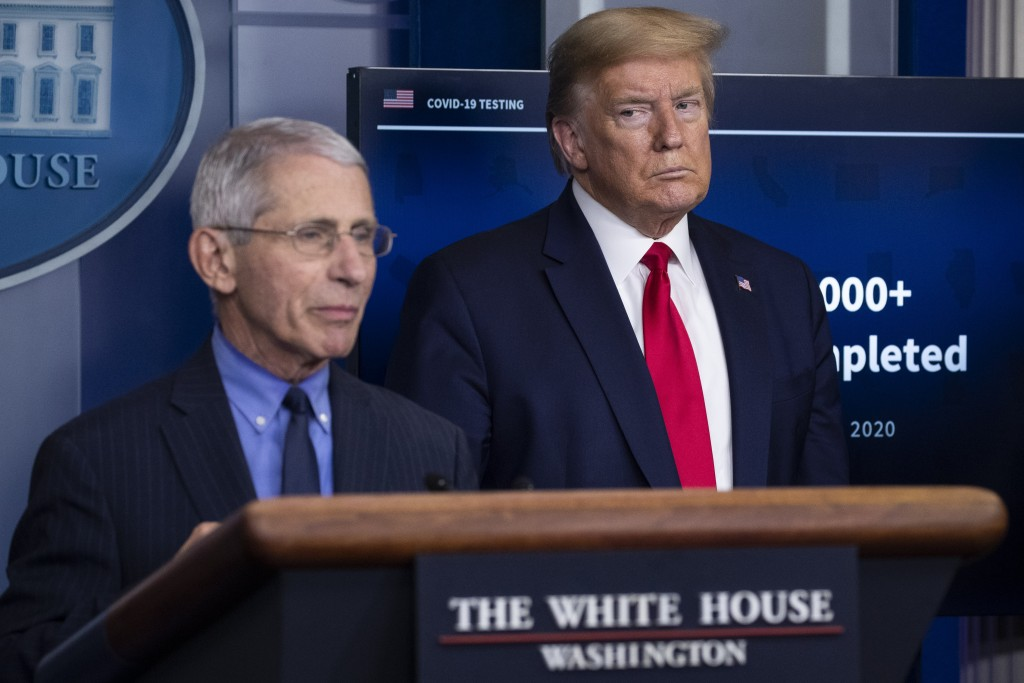 FILE - In this April 17, 2020, file photo Dr. Anthony Fauci, director of the National Institute of Allergy and Infectious Diseases, speaks about the c...