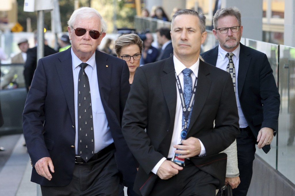 Denis Glennon, left, father of Ciara Glennon, arrives at the Supreme Court of Western Australia in Perth, Thursday, Sept. 24, 2020. A judge found a ma...