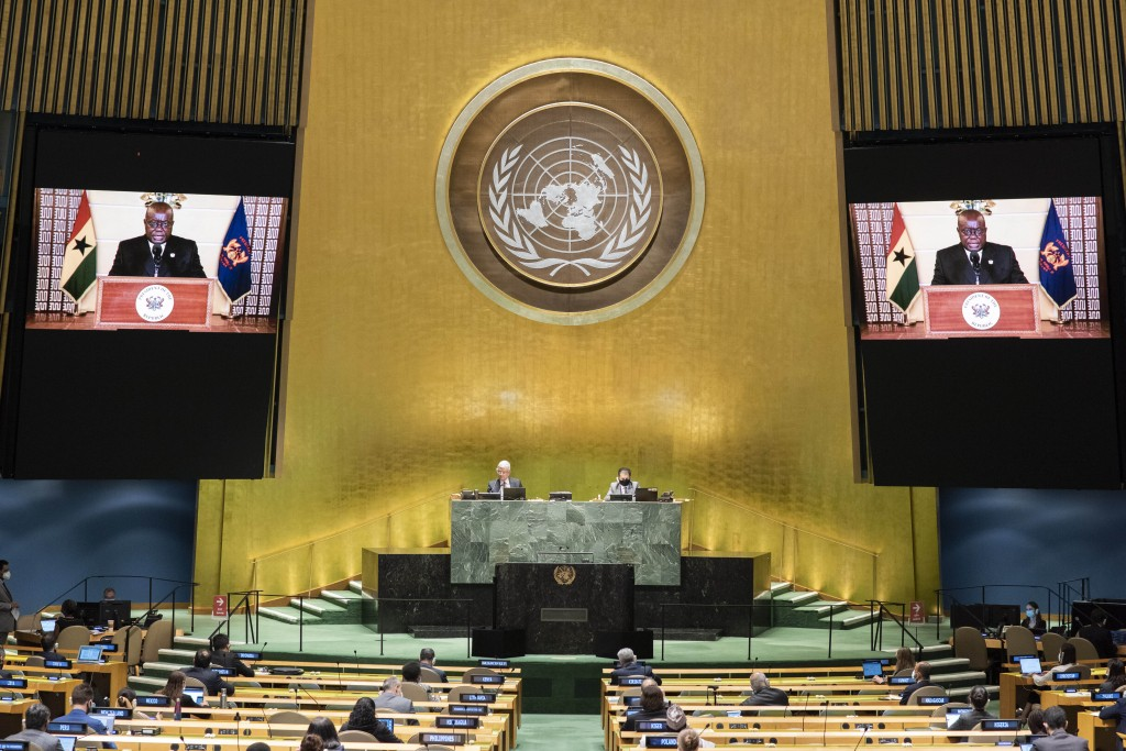 In this photo provided by the United Nations, the pre-recorded message of Nana Addo Dankwa Akufo-Addo, President of Ghana, is played during the 75th s...