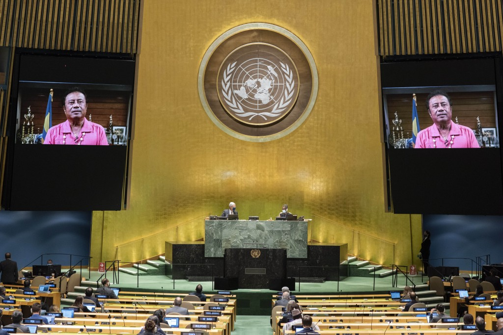 In this photo provided by the United Nations, the pre-recorded message of Tommy Esang Remengesau Jr., President of Palau, is played during the 75th se...