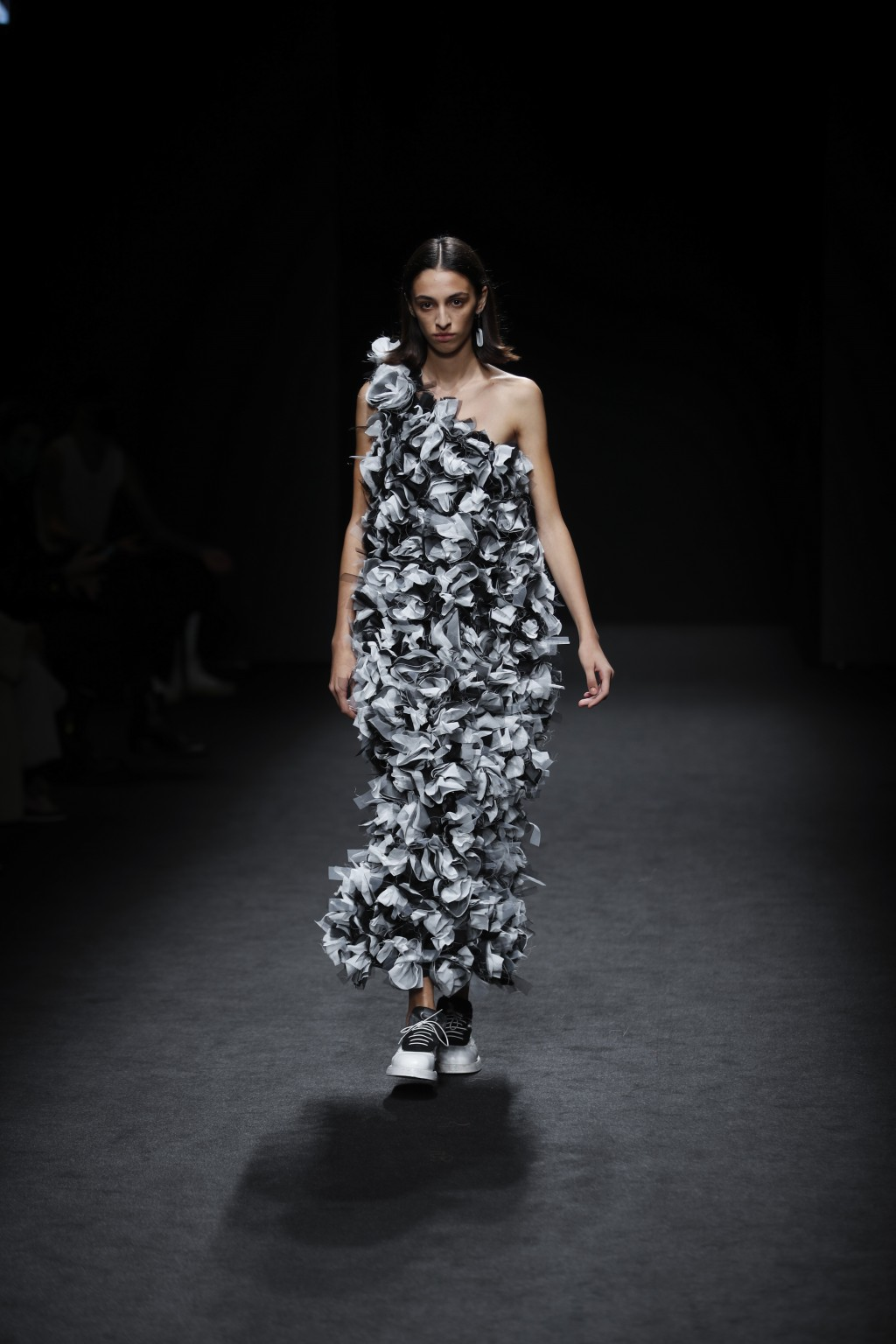 A model wears a creation as part of the Vien 2021 women's spring-summer ready-to-wear collection during the Milan's fashion week in Milan, Italy, Thur...