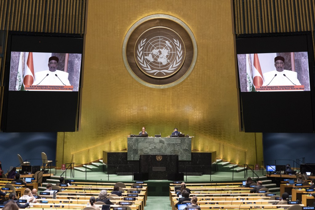 In this photo provided by the United Nations, Mahamadou Issoufou, President of Niger, speaks in a pre-recorded message which was played during the 75t...