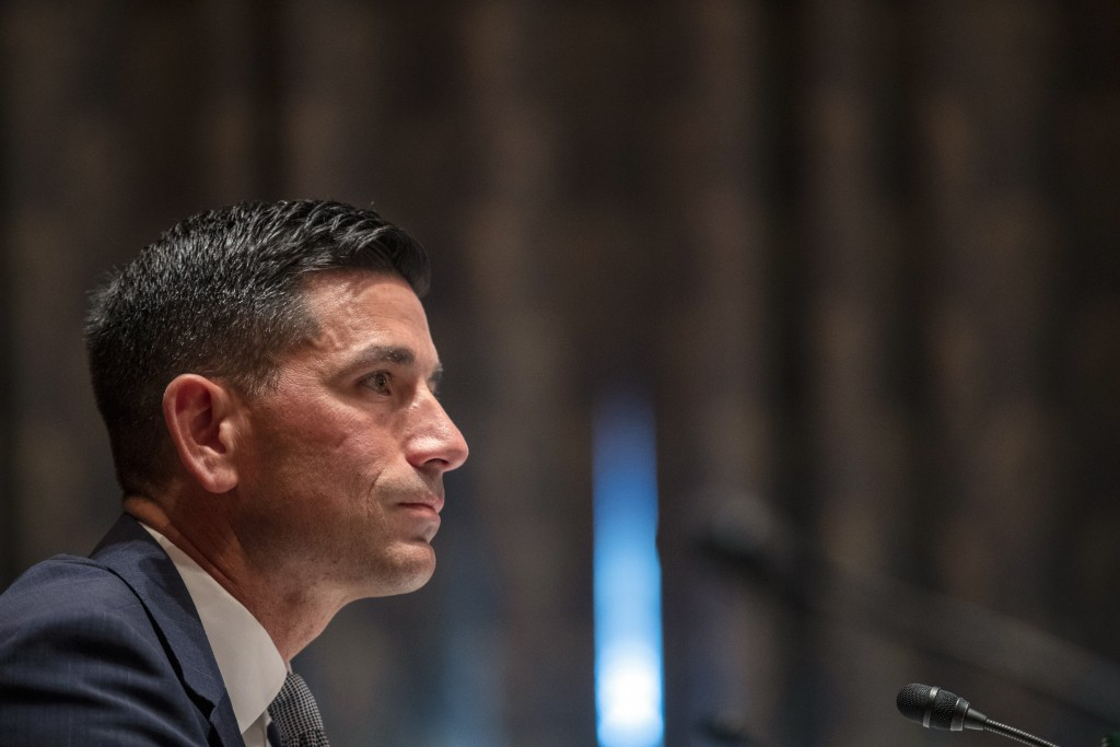 Acting Secretary of Homeland Security Chad Wolf testifies before the Senate Homeland Security and Governmental Affairs committee during his confirmati...