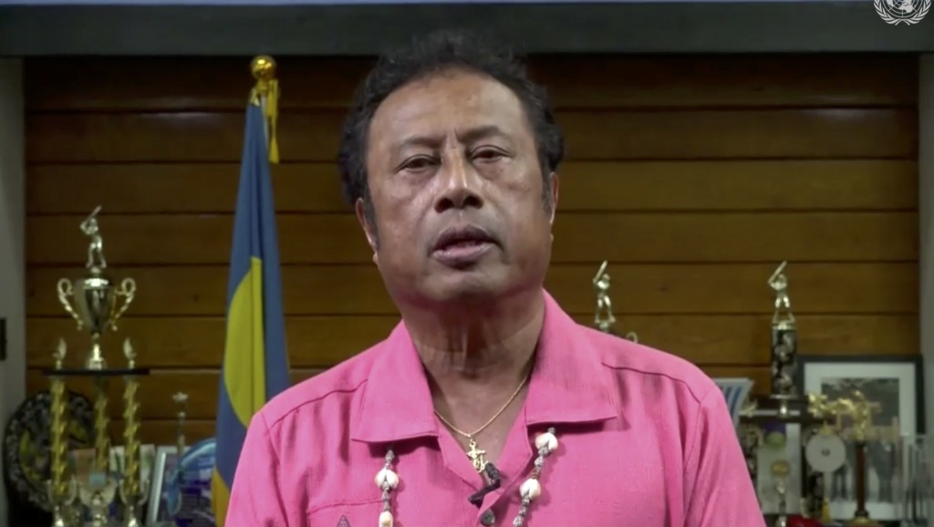 In this image made from UNTV video, Tommy Esang Remengesau Jr., President of Palau, speaks in a pre-recorded message which was played during the 75th ...