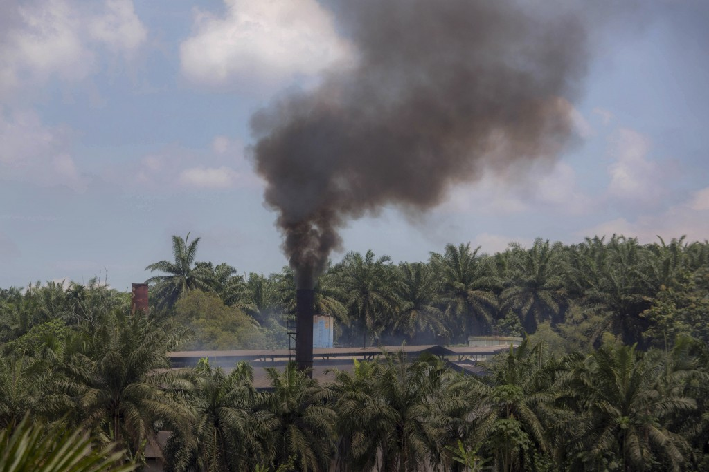 Smoke rises from a processing mill at a palm oil plantation in Sumatra, Indonesia, Saturday, Sept. 8, 2018. Though labor issues have largely been igno...