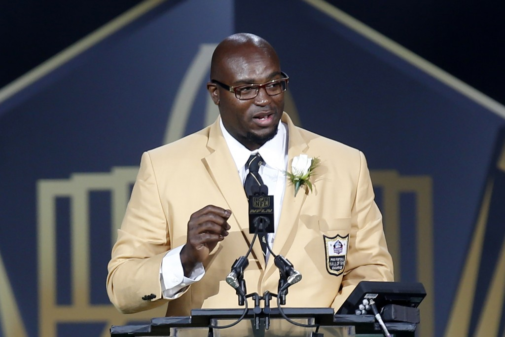 FILE - In this Aug. 8, 2015, file photo, former NFL player Will Shields delivers his speech during an induction ceremony at the Pro Football Hall of F...