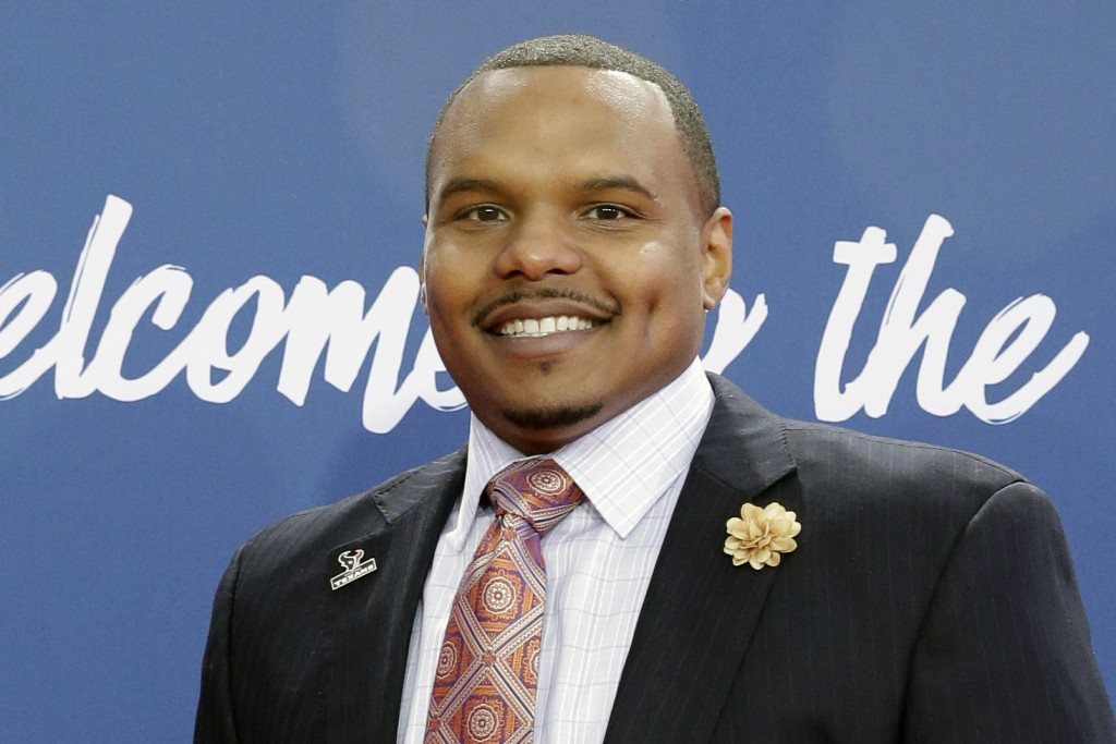 FILE - In this April 29, 2016, file photo, former Walter Payton Man of the Year Chester Pitts poses for photos upon arriving for the third round of th...