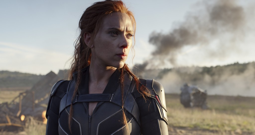 "This image released by Disney/Marvel Studios' shows Scarlett Johansson in a scene from ""Black Widow."" The Walt Disney Co. has further postponed its ne..."