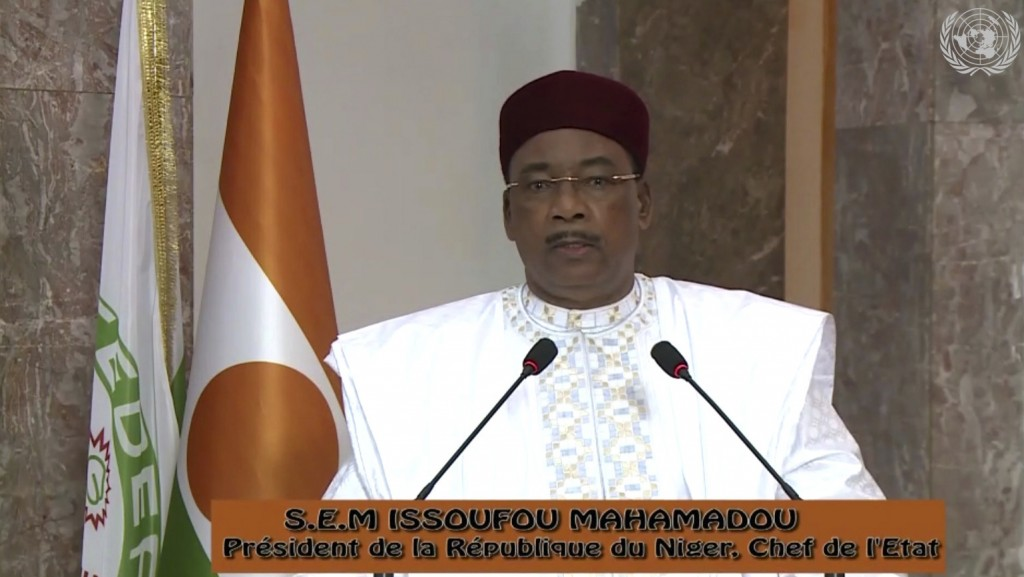 In this image made from UNTV video, Mahamadou Issoufou, President of the Niger, speaks in a pre-recorded message which was played during the 75th sess...