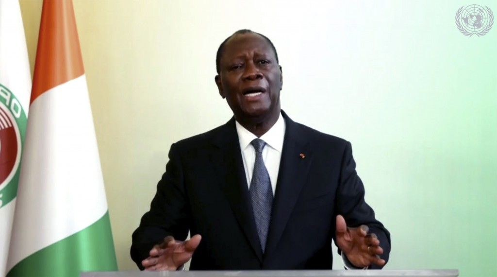 In this image made from UNTV video, Alassane Ouattara, President of Cote d'Ivoire, speaks in a pre-recorded message which was played during the 75th s...