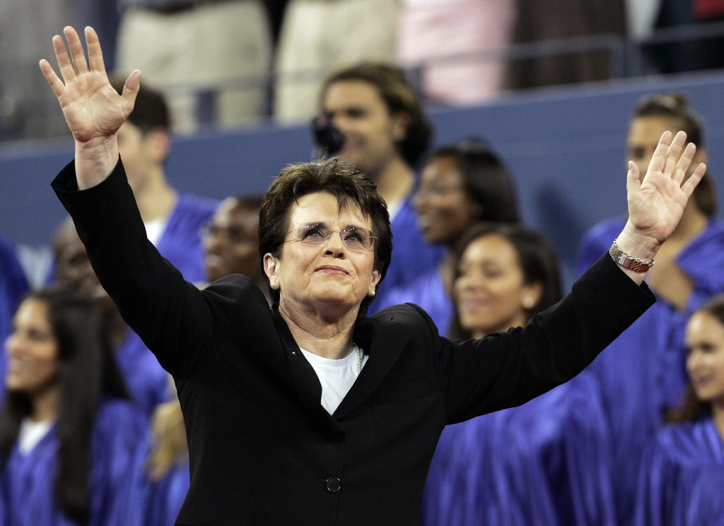 Billie Jean King waves to the crowd during the dedication ceremony for the USTA National Tennis Center re-named in her honor at the US Open tennis tou...
