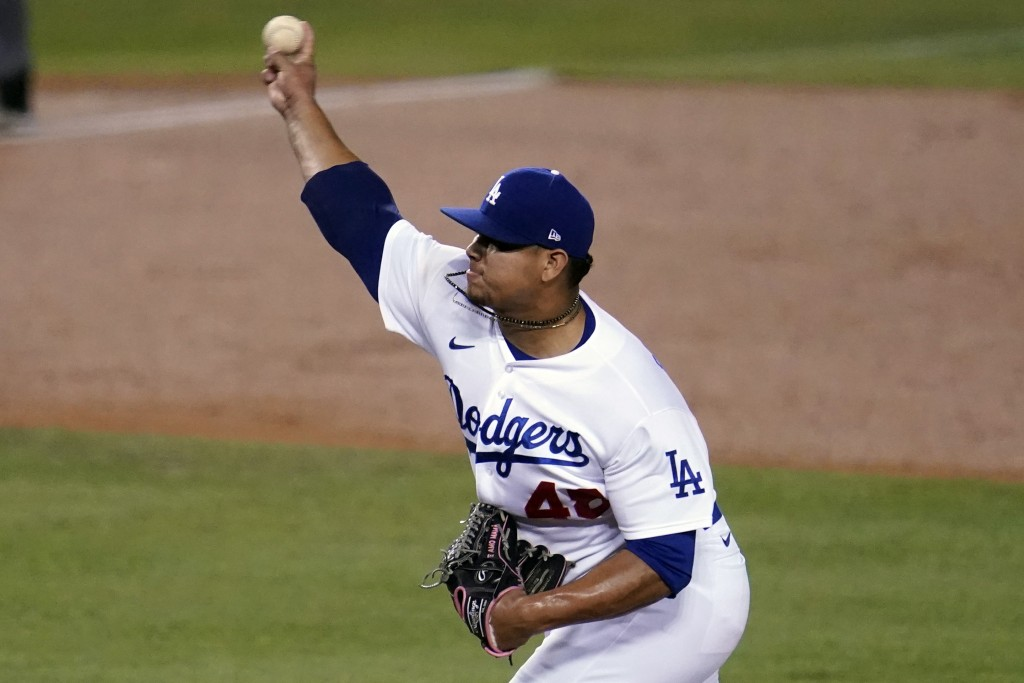 Los Angeles Dodgers relief pitcher Brusdar Graterol throws to an Oakland Athletics batter during the second inning of a baseball game Wednesday, Sept....