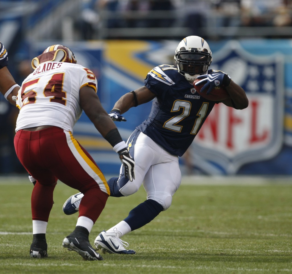 FILE - In this Sunday, Jan. 3, 2010 file photo, San Diego Chargers running back LaDainian Tomlinson during the first quarter of an NFL football game i...