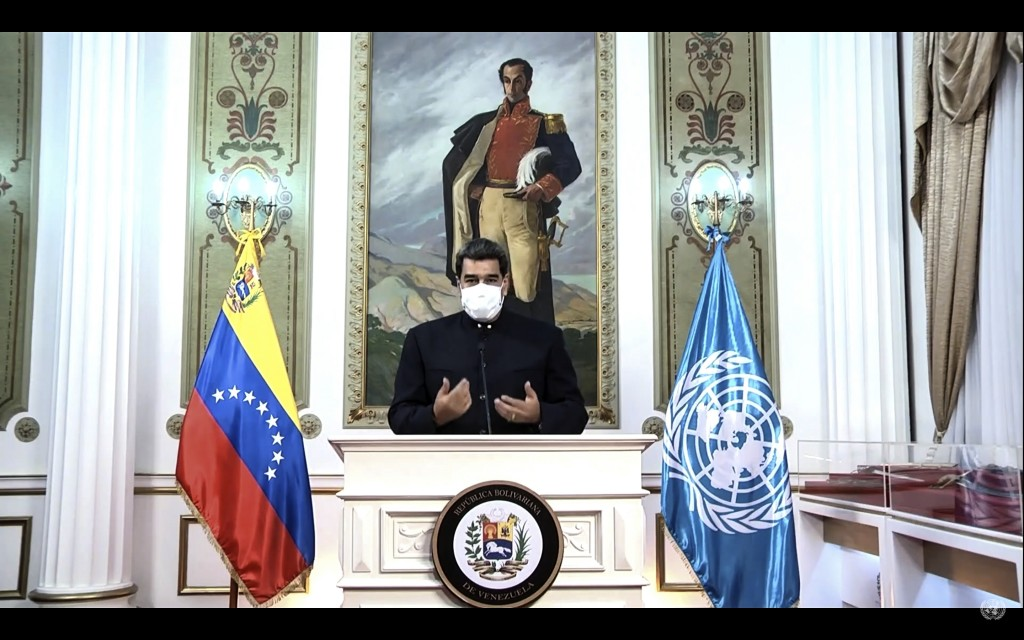 In this UNTV image, Nicolás Maduro Moros, President of Venezuela, wears a mask as he speaks in a pre-recorded video message during the 75th session of...