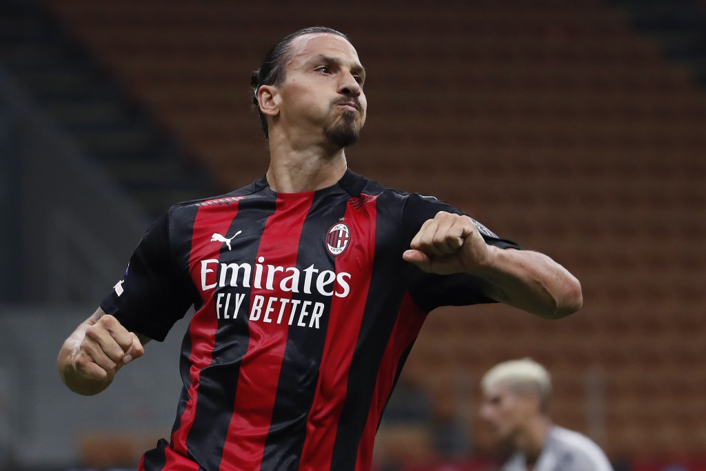 FILE - In this Sept. 21, 2020 file photo, AC Milan's Zlatan Ibrahimovic reacts during the Serie A soccer match between AC Milan and Bologna at the San...