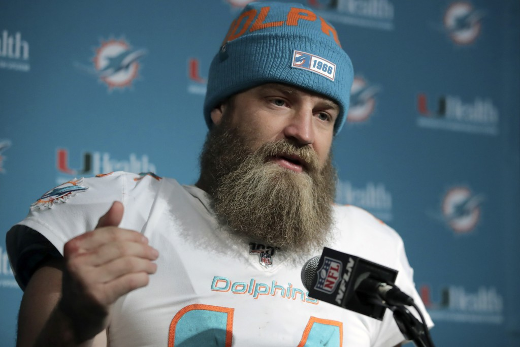 FILE - In this Dec. 29, 2019, file photo, Miami Dolphins quarterback Ryan Fitzpatrick speaks to the media following an NFL football game against the N...