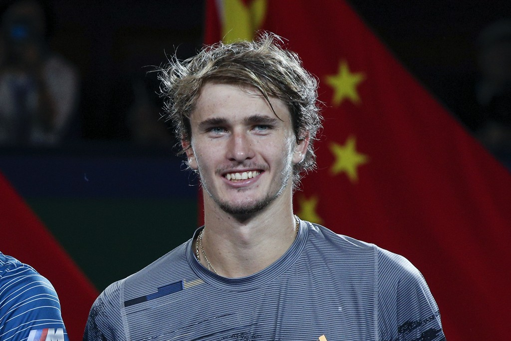 FILE  - In this Sunday, Oct. 13, 2020, file photo, Alexander Zverev of Germany smiles after the men's final at the Shanghai Masters tennis tournament ...