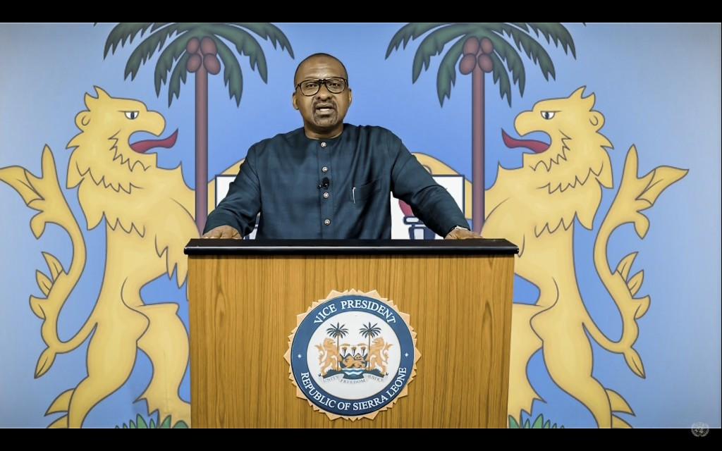 In this UNTV image, Mohamed Juldeh Jalloh, Vice President of Sierra Leone, speaks in a pre-recorded video message during the 75th session of the Unite...