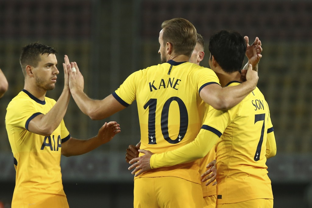 Tottenham's Son Heung-min, right, celebrates with his teammate Harry Kane, centrer, his second goal of his team against Shkendija during a Europa Leag...