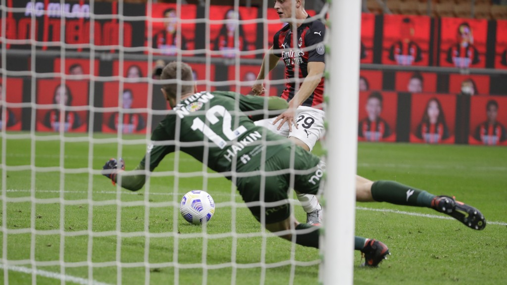 AC Milan's Lorenzo Colombo scores his side's second goal during the Europa League, third-round qualifying soccer match between AC Milan and Bodoe/Glim...