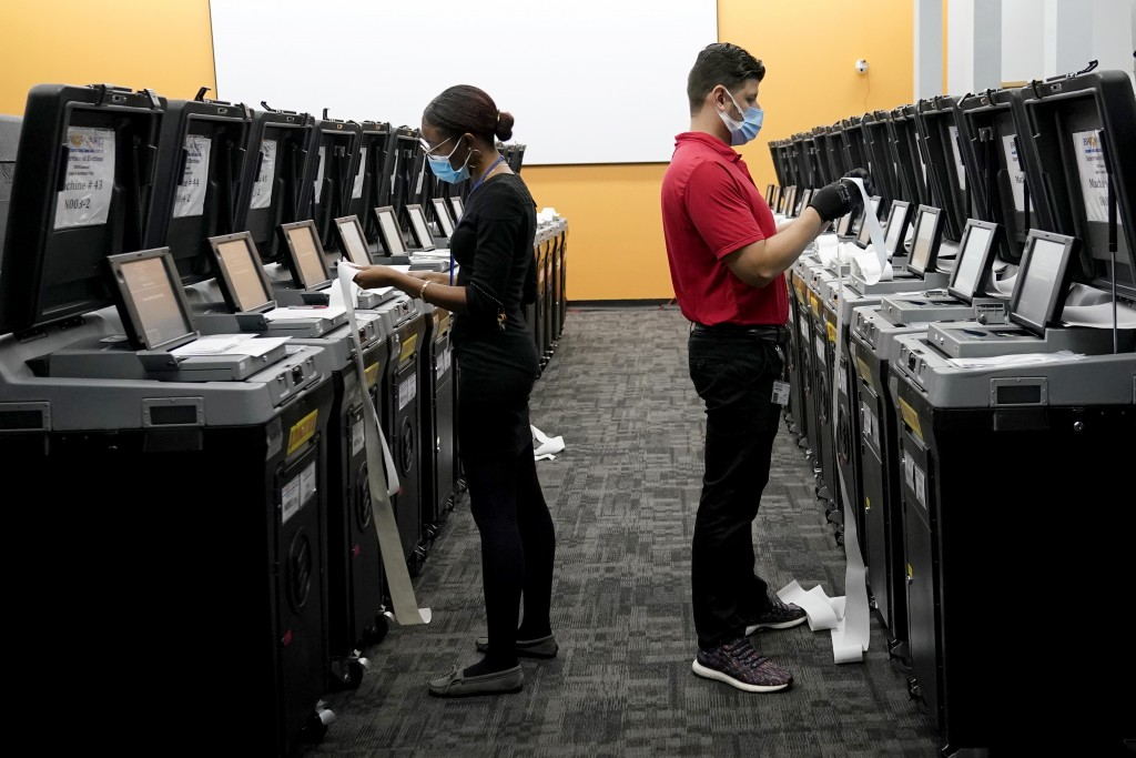 Employees at the Broward Supervisor of Elections Office conduct logic and accuracy testing of equipment used for counting ballots, Thursday, Sept. 24,...