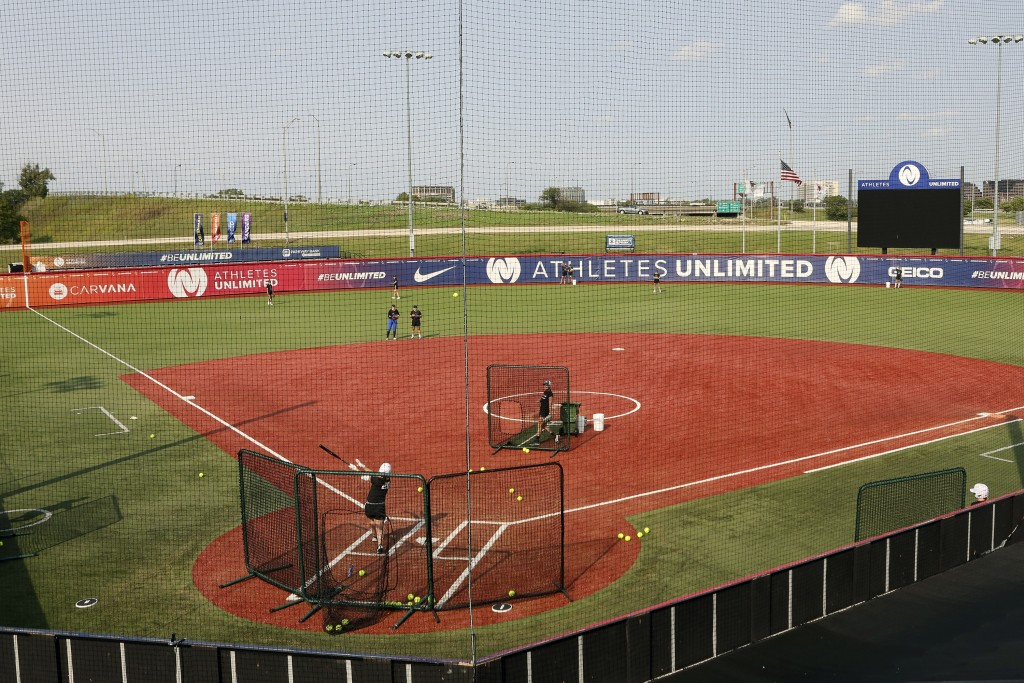 Players for Athletes Unlimited practice on Wednesday, Sept. 16, 2020, in Rosemont, Ill. Elite players are living life in a bubble to prevent the sprea...