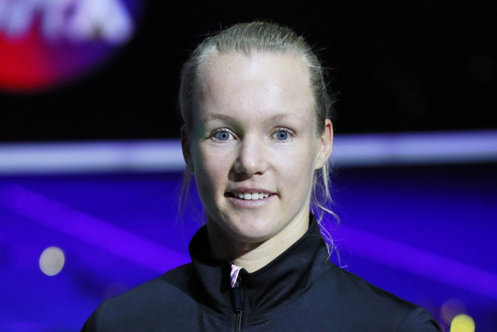 FILE - In this Feb. 3, 2019, file photo, Kiki Bertens of Netherlands poses after winning the final match at the St. Petersburg Ladies Trophy-2019 tenn...